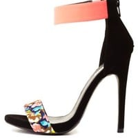 Floral Color Block Single Strap Heels - Pewter Combo