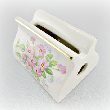 Vintage 1950s JAPANESE Porcelain Business Card Holder with Pink Purple Flowers and Gold Trim, Cottage Chic Desk Accessory Office Decor