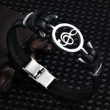 Stainless Steel Musical Note Leather Punk Bracelet