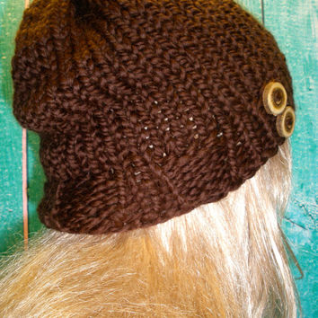 Slouchy Beanie Hat Winter Hand Knit Brown Woodsy With Two Wood Buttons