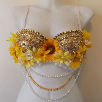 Summer Gold Rave Bra By Revolt Couture