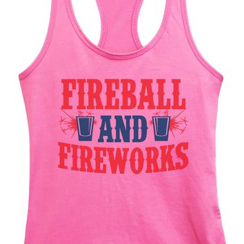 Womens Fireball & Fireworks Grapahic Design Fitted Tank Top