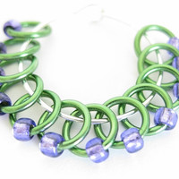 Tiny Stitch markers for socks | Lace stitch marker | Knitting marker | Knitting supplies | green rings; purple beads | #0517