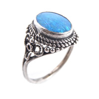Vintage Sterling Silver Blue Opal Ring -  Size 6 Filigree Jewelry / Blue Glow