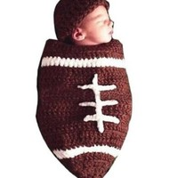 OrangeTag Baby Football Cocoon with Beanie Hat Set Photography Photo Props Brown