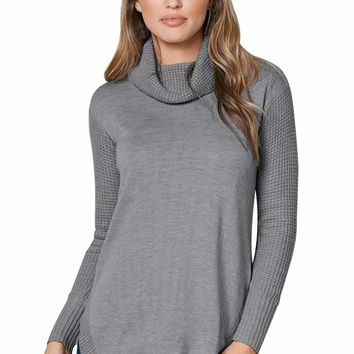 Gray Button Back Cowl Neck Sweater