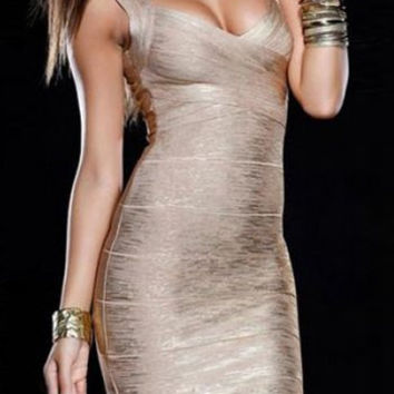 Gold Strappy Backless Bodycon Dress
