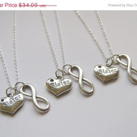 Summer Sale Save15% 3 Infinity Heart Sisters Necklaces