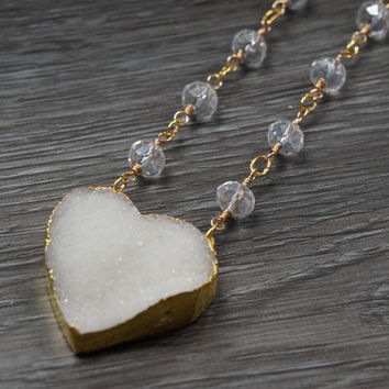 White Heart Druzy Necklace // Goldplated Semi-Precious Stone // Wire-wrapped // Rough Drusy // Boho Chic // Layering Necklace // Bohemian