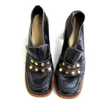 Vintage 60s Patent Black Loafers Womens Chunky Slip Ons Hipster Shoes Bohemian Mod Dress Shoes Studded Retro Vinyl Shoes DELLS Womens 7.5
