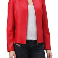 RED WOMENS BIKER LEATHER JACKET, WOMENS JACKETS, WOMEN RED COLOR JACKET