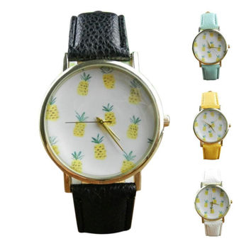 Pineapple Pattern Leather Watch
