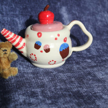 Handmade Miniature Teapot, Collectible Art Pottery, American Girl size ceramic Tea Pot, Cupcake Cherry Teapot, Unique Girl Birthday Gift