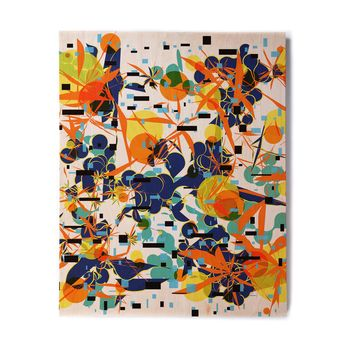 "Frederic Levy-Hadida ""Foliage Folie 1"" Orange White Digital Birchwood Wall Art"