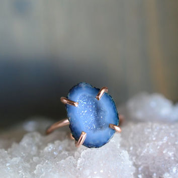 Light Blue Geode Ring. 14k Rose Gold Fill Ring. Delicate Blue Gemstone Ring. Rose Gold Fill Prong. Stacking Stone Druzy Jewelry