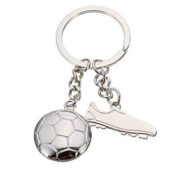 Silver World Cup Soccer Shoe Pendant Key Chain Key Ring Gift