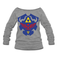 Hylian Shield Womens Wide Neck Sweatshirt S-XXL from Much Needed Merch