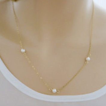 4mm Pearl Necklace Gold Fill Chain USA Everyday Wear Jewelry