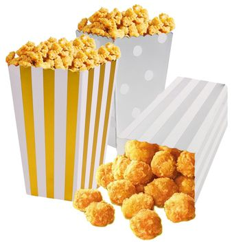 12pcs/lot Gold/Silver Shiny Metallic Mini Party Paper Popcorn Boxes Candy/Sanck Favor Bags Wedding Birthday Movie Party Supplies