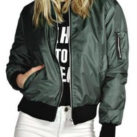 Army Green Bomber Jacket with Zipper Details - US$19.95 -YOINS