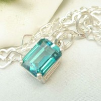 Paraiba Color Topaz Sterling Octagon Gemstone Pendant Heart Necklace