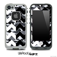 Traditional Snow Camo & Black/White Chevron Pattern Skin for the iPhone 5 or 4/4s LifeProof Case
