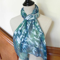Hand dyed silk scarf, Shades of blue green, long Devore satin silk scarf # 491, ready to ship