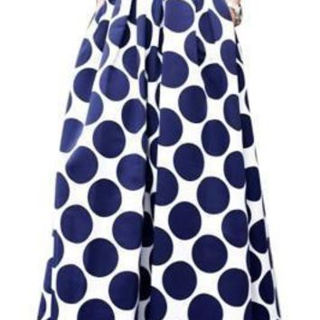 Precious Full Long Skirt Polka Dot High Waist