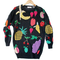 Vintage 90s Oversized Bedazzled Fruit Ugly Sweater - The Ugly Sweater Shop