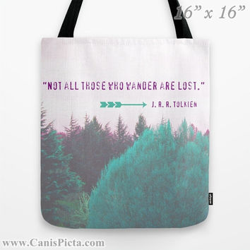 "J.R.R. Tolkien Quote ""Dreamland Forest"" Graphic Print Tote Bag Pet Not all who wander are lost LOTR Fuchsia Teal Purple Nature Wanderlust"