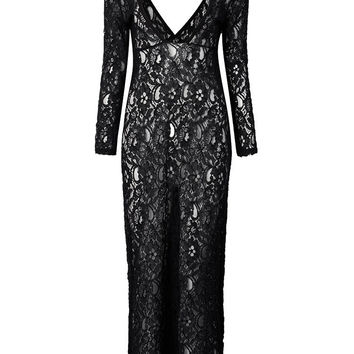 Sexy Backless Black Long Sleeve Deep V Neck Lace Maxi Cocktail Party Dress