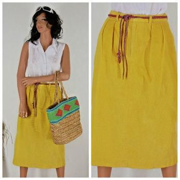 Ralph Lauren corduroy skirt, sze 7 / 8, high waisted retro 80¡¯s yellow cord long skirt