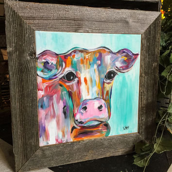 Colorful Abstract Cow Painting Framed with Reclaimed Barn Wood