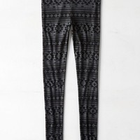 AEO Women's Hi-rise Geo Ribbed Legging (Black)