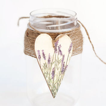"Tiny rustic style wooden heart decoration ""Lavender"", set of 2 - handmade, wedding decor, gift ideas, lavender, purple, natural wood"