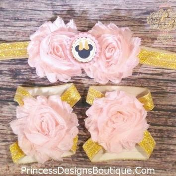 Pink and Gold Minnie Headband and Barefoot Sandals Set