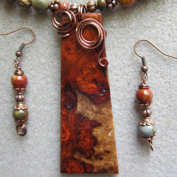 Rare Amboyna Burl Exotic Wood Pendant Necklace and matching Earrings ExoticWoodJewelryAnd