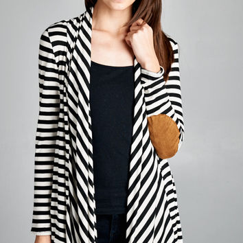 Brittany Striped Cardigan with Elbow Patches