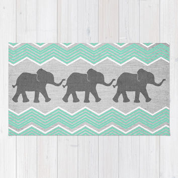 Three Elephants - Teal and White Chevron on Grey Rug by tangerinetane