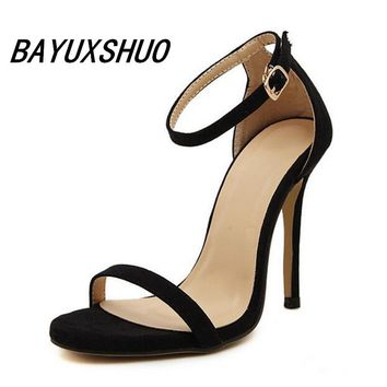 BAYUXSHUO Summer Style Women Sandals High Heels Shoes Ladies Sexy Open toe Ankle buckle Stiletto Heels OL work shoes Plus size