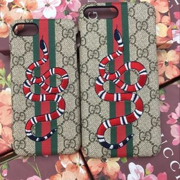 GUCCI Fashion Print Embroidery iPhone Phone Cover Case For iphone 8 8plus iPhone6 6s 6