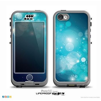 The Glowing Blue & Teal Translucent Circles Skin for the iPhone 5c nüüd LifeProof Case