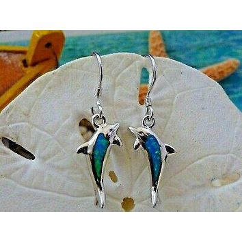 REAL STERLING SILVER INLAY BLUE OPAL DOLPHIN DANGLE EARRINGS