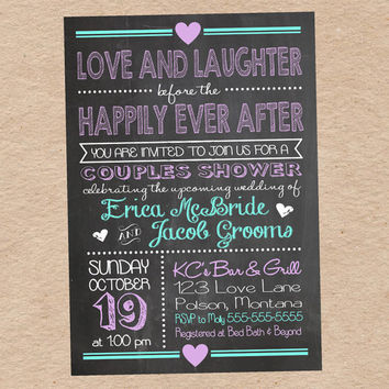 "Chalkboard Couples Shower Invitation- ""Love and Laughter Before the Happily Ever After"" Custom DIY Printable"