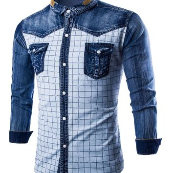 Men Jeans Shirts Long Sleeve Denim Men Shirt Fashion Popular Plaid Single Breasted Cowboy Shirt M-XXXL UC819