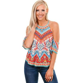 Colorful Mixed Print Cold Shoulder Blouse