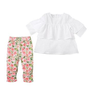 MudPie WHITE DOBBY TUNIC & FLORAL LEGGING SET