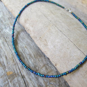 Blue Aura Beaded Choker