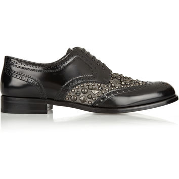 Dolce & Gabbana - Boy Donna embellished glossed-leather brogues