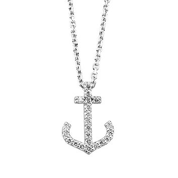 1/8 cttw Diamond Anchor Necklace in 14k White Gold